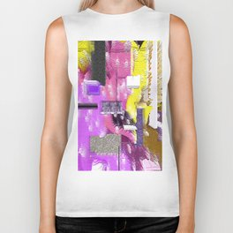 Pink and More Abstract Stacked Design Biker Tank