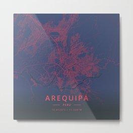 Arequipa, Peru - Neon Metal Print
