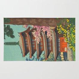 Asano Takeji Spring in Daigoji Temple Vintage Japanese Woodblock Print Detailed East Asian Art Rug