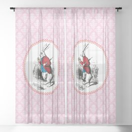Alice in Wonderland | The White Rabbit Checks the Time | Pink Damask Pattern | Sheer Curtain
