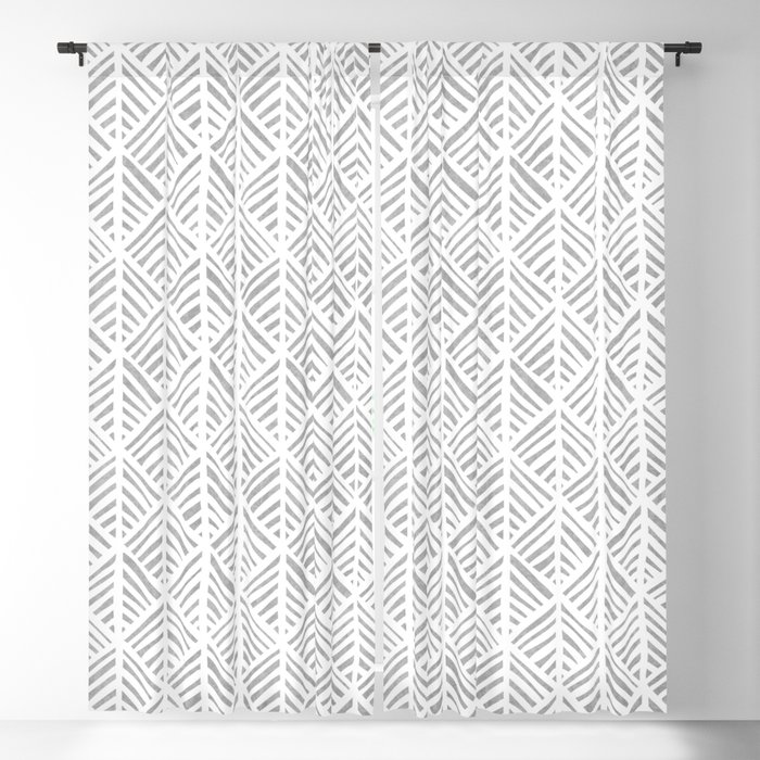 Abstract Leaf Pattern in Gray Blackout Curtain