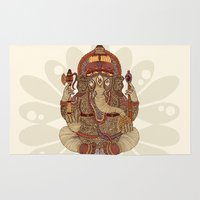 ganesha Area & Throw Rugs featuring Ganesha: Lord of Success by Valentina Harper