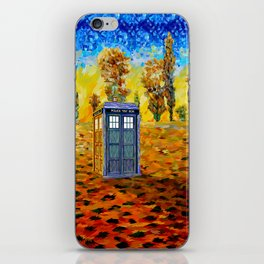 Blue phone Booth at Fall Grass Field Painting iPhone Skin