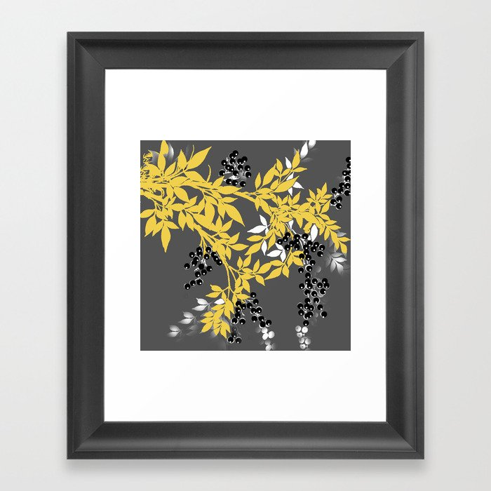 TREE BRANCHES YELLOW GRAY  AND BLACK LEAVES AND BERRIES Gerahmter Kunstdruck
