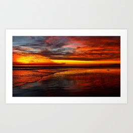 Huntington Beach Sunset 12/2/13 Art Print