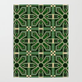 Art Deco Floral Tiles in Emerald Green and Faux Gold Poster