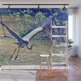 Flying (Blue Heron) Wall Mural
