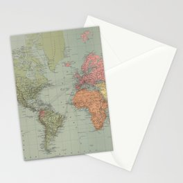 Vintage Map of The World (1889) Stationery Cards