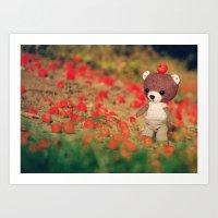 Small bear in the world Art Print