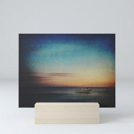 Evening Calm - Boat on beach in evening light Mini Art Print