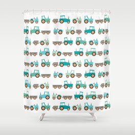 Tractors on white Shower Curtain