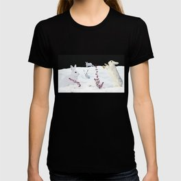White rabbits dancing around red erica in snow mountain. T-shirt