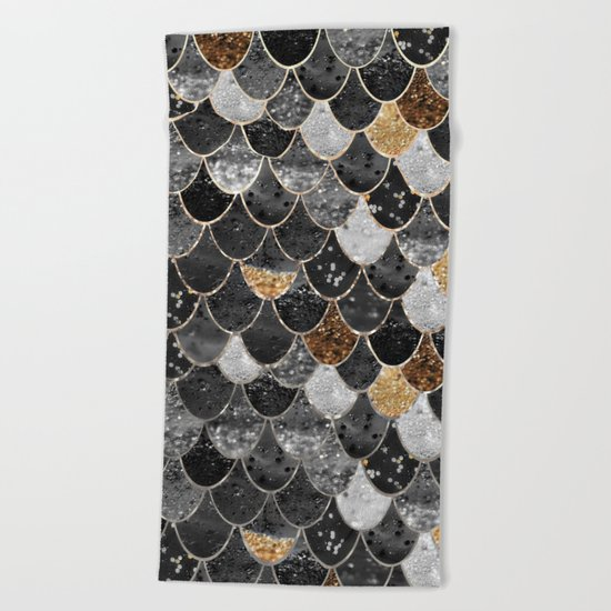 REALLY MERMAID BLACK GOLD Beach Towel
