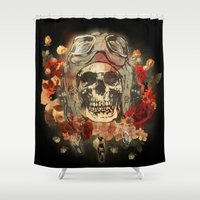 kindle Shower Curtains featuring 301 by ALLSKULL.NET