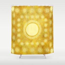 """Gold & Yellow Ethnic Sun Mandala"" Shower Curtain"