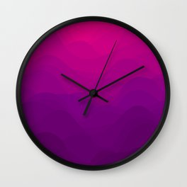 Purple and Pink Waves Wall Clock