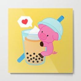 Pig with Yellow Bubble Tea Metal Print