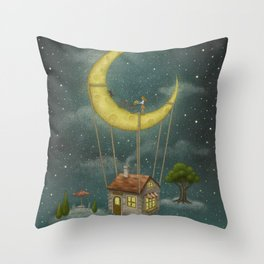 Travel With The Moon Throw Pillow
