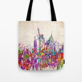 New York skyline colorful collage Tote Bag