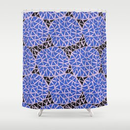 Triangles Blue Shower Curtain