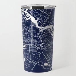 Amsterdam Navy Blue on White Street Map Travel Mug