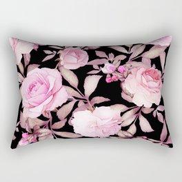 FLORAL PINK & BLACK Rectangular Pillow