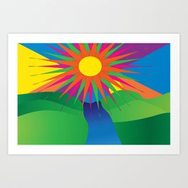 Psychedelic Sun Neon Mountain River Lands Art Print