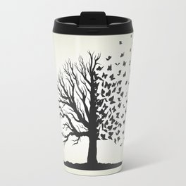 dried tree with branches and flying butterflies Travel Mug