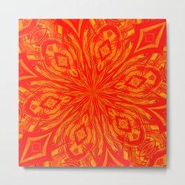 6 Petals Abstract Orange Crush Metal Print