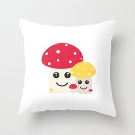 Cute colorful mushrooms Throw Pillow