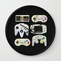 gamer Wall Clocks featuring Gamer Nostalgia by discojellyfish