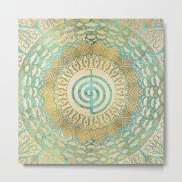 Pastel and Gold  Choku Rei Symbol in Mandala Metal Print