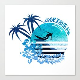 Caribbean Cruisin Blue Surfing Design Canvas Print