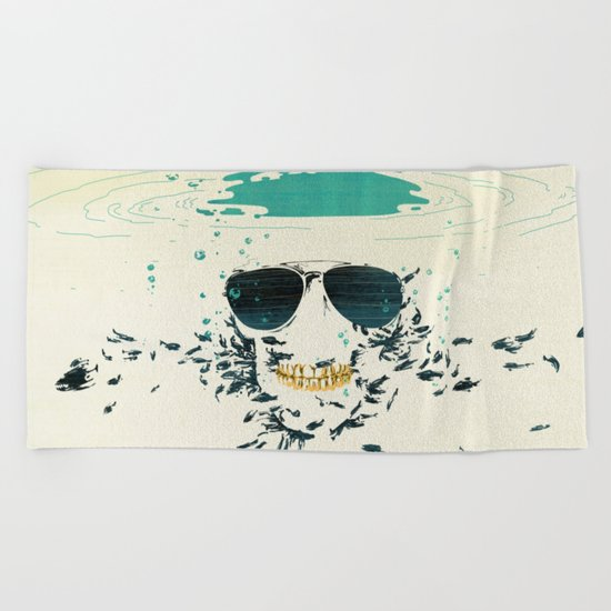 Sleeping with the fishes Beach Towel