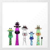 giraffes Art Prints featuring Giraffes by Jozi