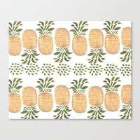 pineapples Canvas Prints featuring Pineapples by Bouffants and Broken Hearts