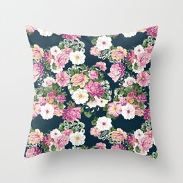 Roselyn Floral - Navy Throw Pillow