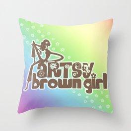 Artsy Brown Girl Throw Pillow