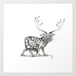 Catalope: The Horned Cat Art Print