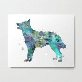 Australian Kelpie Dog Watercolor Painting Metal Print