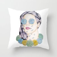 ellie goulding Throw Pillows featuring ELLIE GOULDING  by Aidan Reece Cawrey