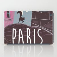 travel poster iPad Cases featuring Vintage Paris Travel Poster cartoon by Nick's Emporium Gallery