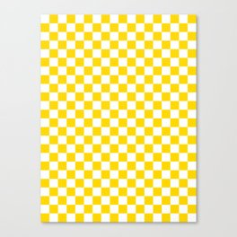 Small Checkered - White and Gold Yellow Canvas Print