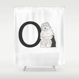 O is for Old English Sheepdog Shower Curtain