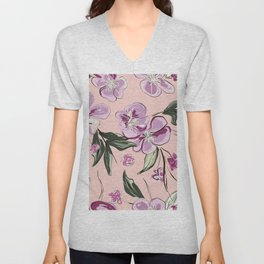 Voilet floral Unisex V-Neck