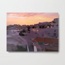 Oia, Santorini Greece at Sunset Metal Print
