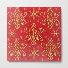 DP044-2 Gold snowflakes on red Metal Print