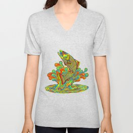 Psychedelic Rainbow Trout Fish Unisex V-Neck