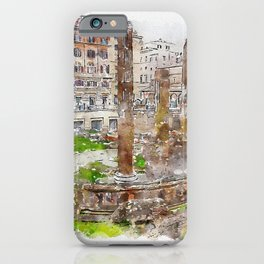 Aquarelle sketch art. Archaeological area of Largo Torre Argentina. Rome. Italy. iPhone Case