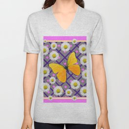Yellow Butterfly on Lilac-pink Shasta Daisy Grey Abstract Pattern Unisex V-Neck